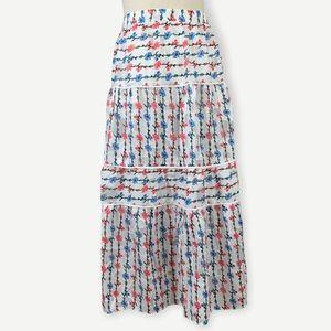FOXIEDOX NWT Sz S Ruffle Tiered Midi Skirt Floral